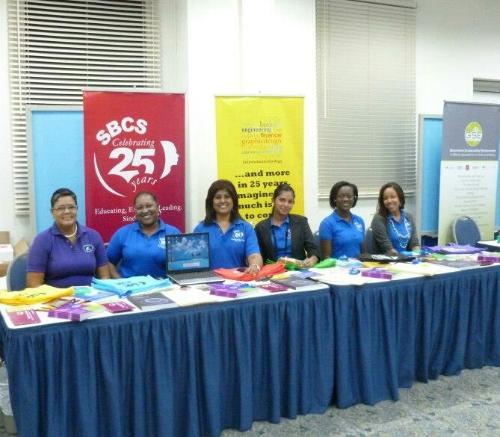 From left to right Ms. Anastasia Balthazar, Ms. Selina Lewis, Mrs. Terry Amirali-Rambharat, Mrs. Sasha Chaitram, Mrs. Lois Marcelle-Kennedy and Ms. Natalie Peltier.