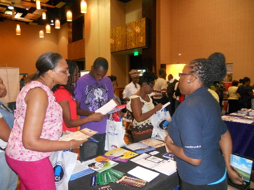 Visitors to the SBCs booth obtain information on the programmes of their interest