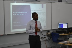 Academic Manager, Mr. Kevon Allen opens proceedings at the CF session.